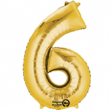 "Gold Number 6 Mini-Foil Balloon (16"" Air) 1pc"